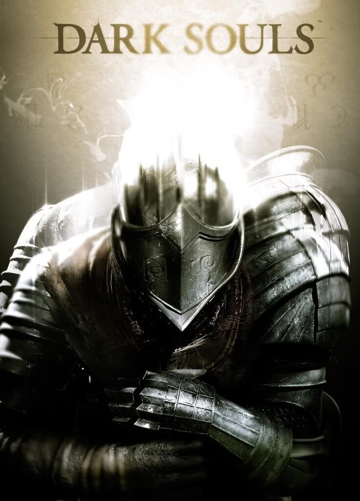 """Game art for the Dark Souls franchise, featuring the """"Dark Souls"""" title and a kneeling, fully armored knight."""