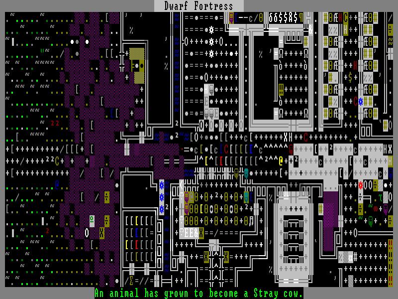 A screenshot from Dwarf Fortress, showing the very simple (perhaps too simple) graphical interface.