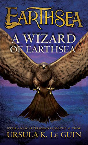 """Cover image of """"A Wizard of Earthsea"""" by Ursula K. Le Guin, featuring a hawk set against a twilit horizon."""
