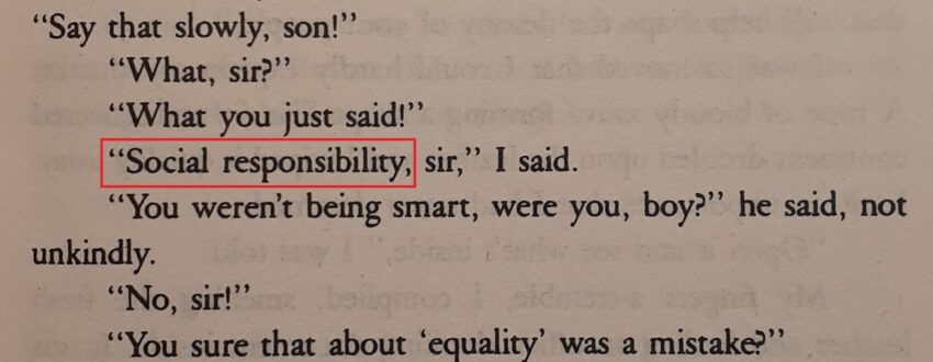 """A passage from Ralph Ellison's """"Invisible Man,"""" with the words """"social responsibility"""" highlighted."""