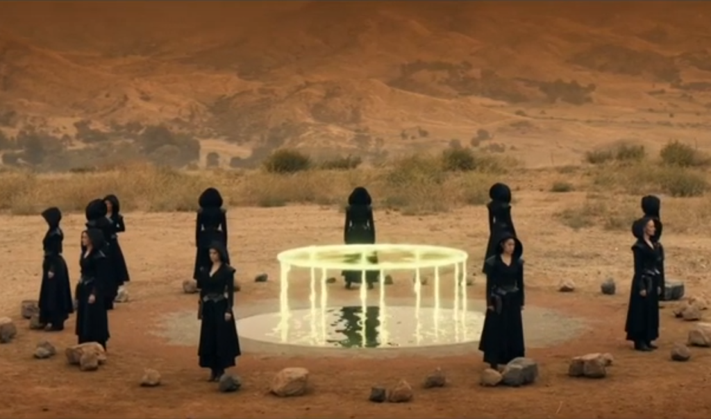 Figures clad in black robes and cowls stand in a circle around a pool. A strange shape, almost like a tall table made of pure energy, rises from the pool.