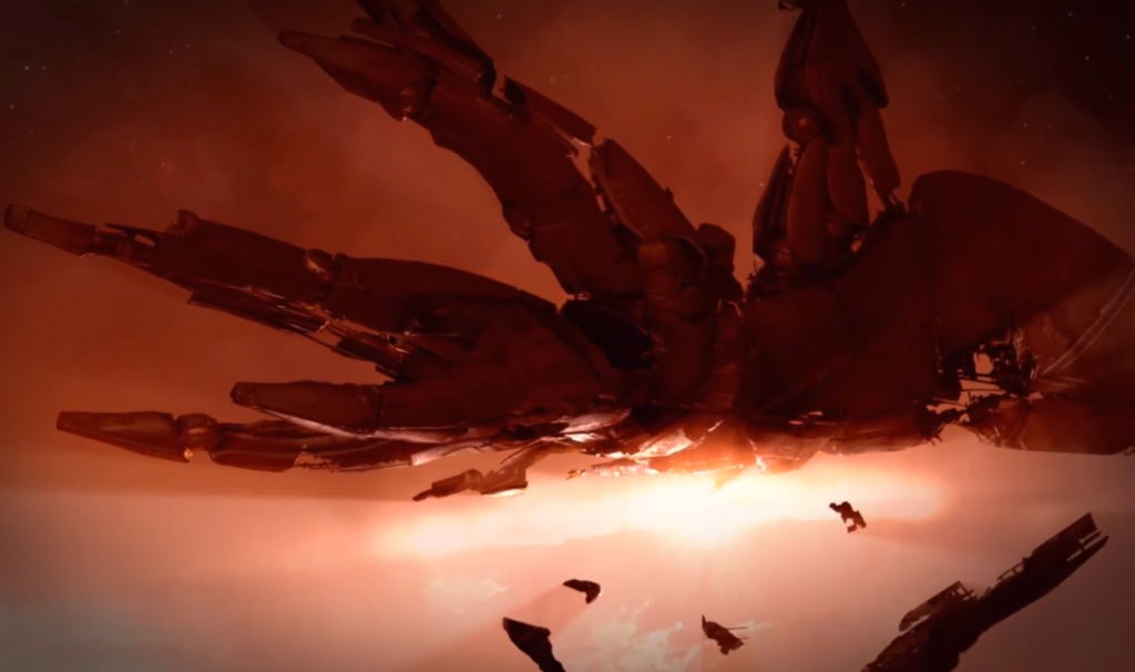 An enormous starship resembling an armored cuttlefish lies suspended in the red haze of a brown dwarf's atmosphere. It is broken down and surrounded by debris, clearly adrift.