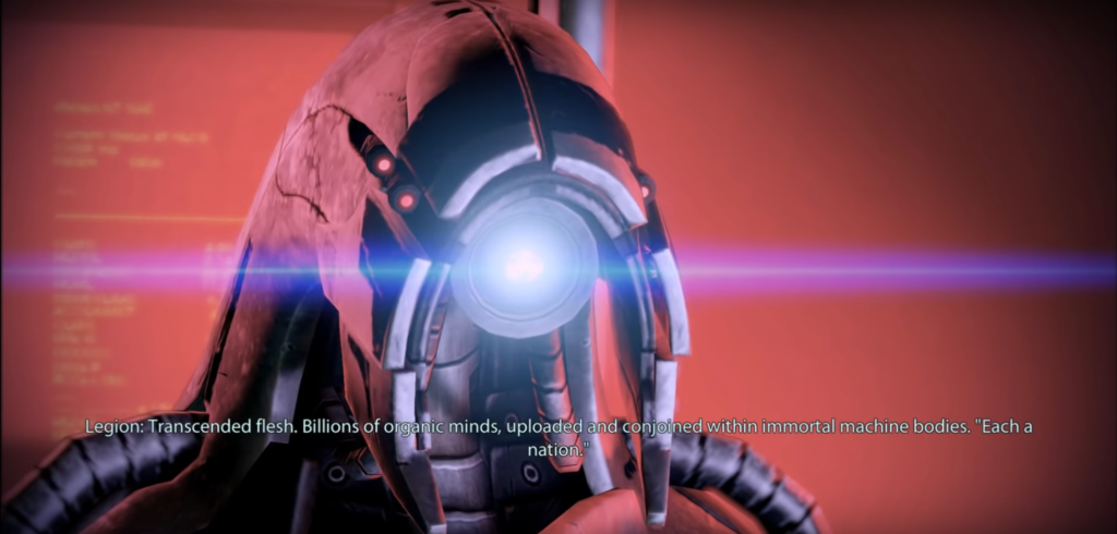 """The head of a humanoid machine with a central """"eye"""" shining blue. A subtitle at the bottom of the frame reads: """"Legion: Transcended flesh. Billions of organic minds, uploaded and conjoined within immortal machine bodies. 'Each a nation.'"""""""