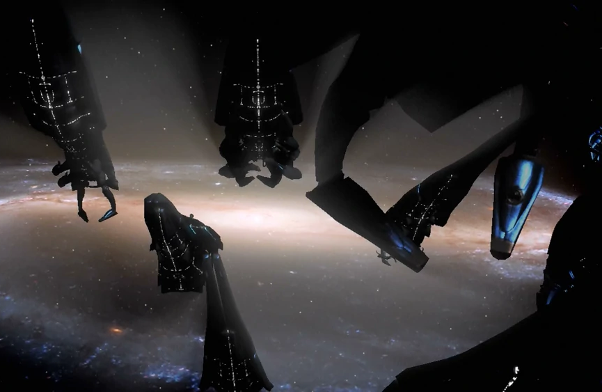 Several ships resembling armored cuttlefish, tiny lights crisscrossing their hulls, drift close to a spiral galaxy.