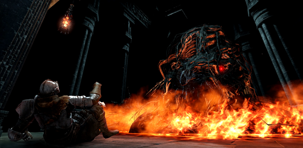 A knight lies on his back, propped up on one elbow, facing a bizarre creature seemingly made of wood and surrounded by fire.