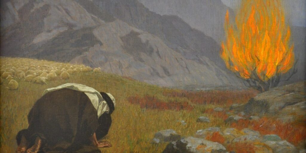 A grassy, mountainous country; A man in dark robes and a white keffiyeh, lower left of frame, prostrates himself before a burning bush in the upper right of frame. A flock of sheep mills about on the far left.