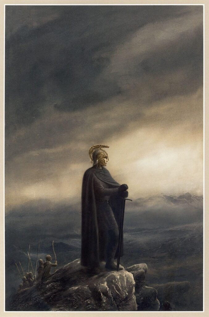 A man wearing a black cloak, mail shirt, and golden helmet with a crest like a dragon, stands in profile on a rocky peak surveying the wide lands all about. The sky is equal parts dark clouds and sunlight, while line of armed men stand some way behind him.