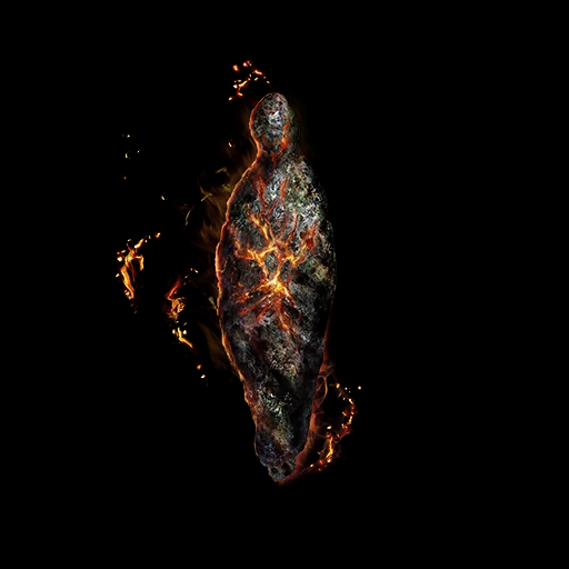A black shape not altogether unlike a Humanity Phantom hovers in darkness, infused with fire and surrounded by sparks.