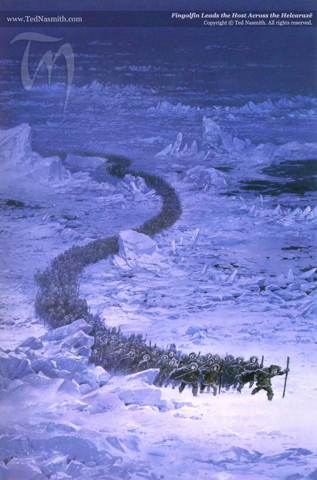 A great column of elves, clothed in fur-lined cloaks and hoods, struggles through an dark wasteland, snaking around frozen hills and jagged slabs of ice.