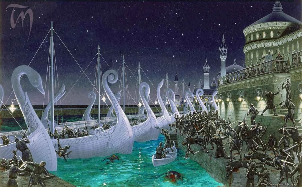 Elves, well-armed and armored, fight on lamplit docks under a starry sky. Many white ships float there, their prows carved to resemble swans.