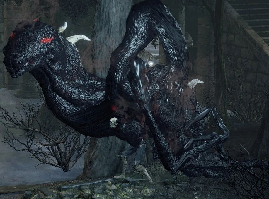 A twisted creature composed of some oily black substance with the occasional horn or bone sticking out of it, as well as red eyes, stands amid medieval-style ruins.