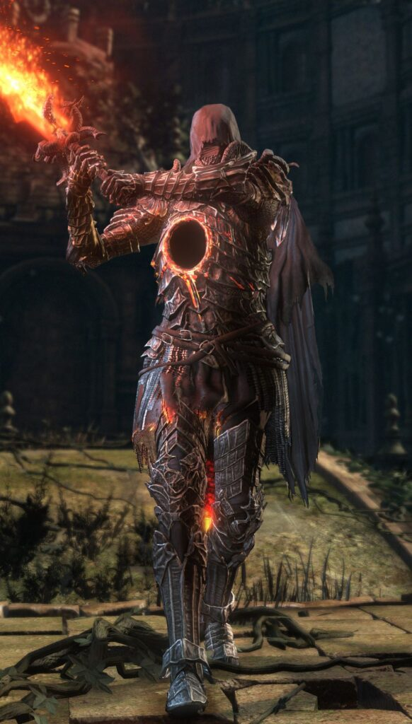 A tall figure in elaborate armor and a cowl holds a flaming sword over its right shoulder. In the center of its chest is a pitch-black hole surrounded by a seal of fire.
