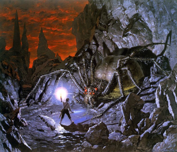 Under a red sky, amid sharp gray rocks, a short man faces a giant spider. In his left hand he raises what seems to be a blazing star, while in the left, he holds a sword with a glowing, blue blade. Behind the man lies a figure tightly wrapped in a cocoon of spider silk.
