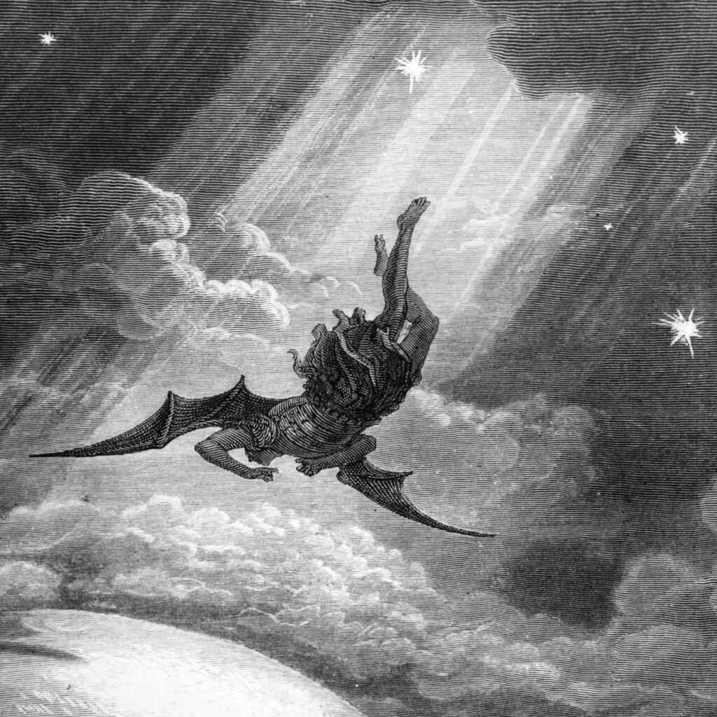 An angel, bathed in sunbeams, falls headfirst from through a cloudy sky towards Earth. A scant few stars shine about him.